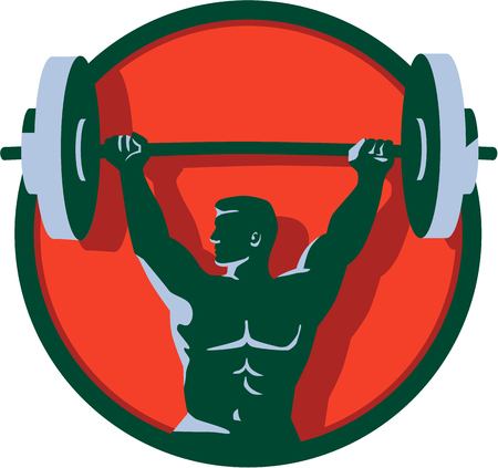 Illustration of a weightlifter lifting barbell weights with both hands looking to the side viewed from front set inside circle done in retro style. Illustration