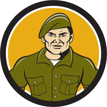 ranger: Illustration of an army ranger standing in full attention viewed from front set inside circle on isolated background done in cartoon style.