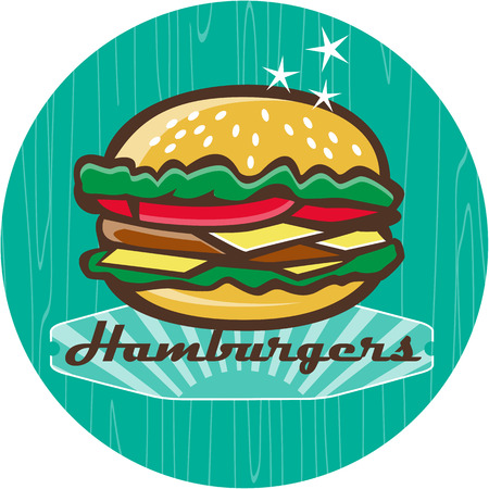 woodgrain: Illustration of a retro 1950s diner style hamburger, burger or cheeseburger with meat patty, lettuce, tomato and cheese slices in bun set inside circle with woodgrain. Illustration