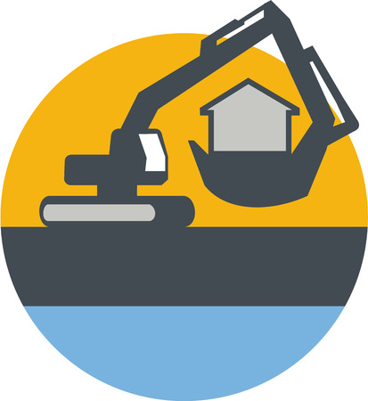heavy construction: Illustration of a construction excavator mechanical digger handling house inside the digging bucket set inside circle done in retro style. Illustration
