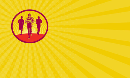 a fellow: Business card showing illustration of a marathon runner with fellow runners in the back viewed from front set inside circle with sunburst in the background done in retro woodcut style.