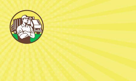 recolector de basura: Tarjeta de visita que muestra la ilustración de un recolector de basura con los brazos cruzados y los camiones de recogida de residuos de basura en segundo plano dentro del círculo hecho en estilo retro. Foto de archivo