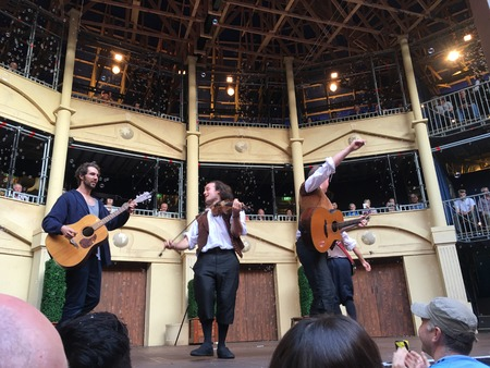 twelfth night: AUCKLAND-May 7: Actors of the Shakespearean play Twelfth Night performing at the Pop-up Globe Auckland , a full-scale working temporary replica of the second Globe Theatre originally built by Shakespeare and his company in 1614 in Auckland, New Zealand on