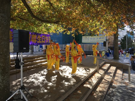 activists: AUCKLAND, MAY 7: Activists and supporters of the Falun Dafa also called Falun Gong,  advanced self-cultivation practice of the Buddha School at the Aotea Square in Auckland, New Zealand on Saturday, May 7, 2016.