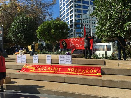 delegates: AUCKLAND, MAY 7: Banners of Socialist Aotearoa, an activist organisation of anti-capitalist workers and students also involved in the union movement as activists, delegates, and organisers at Aotea Square in Auckland, New Zealand on Saturday, May 7, 2016.