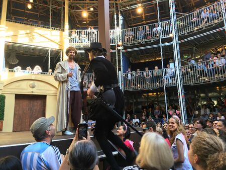 globe theatre: AUCKLAND-May 7: Actors of the Shakespearean play Twelfth Night performing at the Pop-up Globe Auckland , a full-scale working temporary replica of the second Globe Theatre originally built by Shakespeare and his company in 1614 in Auckland, New Zealand on