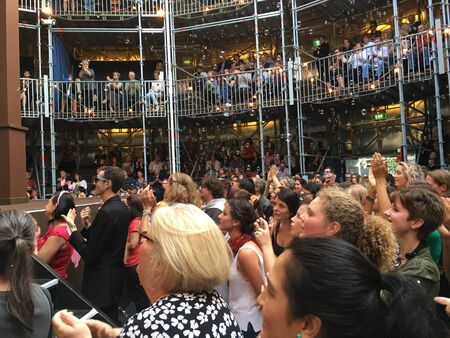 AUCKLAND-May 7: Theater goers, fans and spectators at the Pop-up Globe Auckland , a full-scale working temporary replica of the second Globe Theatre originally built by Shakespeare and his company in 1614 in Auckland, New Zealand on Saturday, May 7, 2016.