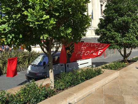 socialist: AUCKLAND, MAY 7: Banners of Socialist Aotearoa, an activist organisation of anti-capitalist workers and students also involved in the union movement as activists, delegates, and organisers at Aotea Square in Auckland, New Zealand on Saturday, May 7, 2016.