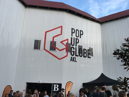 globe theatre: AUCKLAND-May 7: Theater goers, fans and spectators at the Pop-up Globe Auckland , a full-scale working temporary replica of the second Globe Theatre originally built by Shakespeare and his company in 1614 in Auckland, New Zealand on Saturday, May 7, 2016.