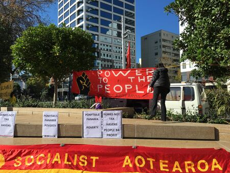 activist: AUCKLAND, MAY 7: Banners of Socialist Aotearoa, an activist organisation of anti-capitalist workers and students also involved in the union movement as activists, delegates, and organisers at Aotea Square in Auckland, New Zealand on Saturday, May 7, 2016.