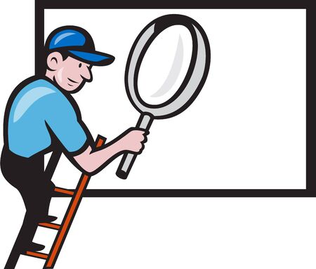 climbing ladder: Illustration of a worker handyman wearing hat carrying giant magnifying glass climbing ladder with billboard in the background done in cartoon style.