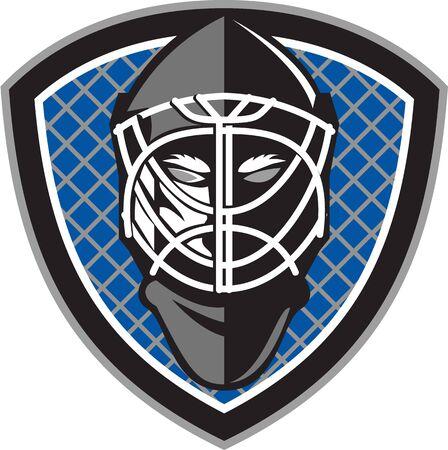 hockey goalie: Illustration of a ice hockey goalie helmet set inside shield crest with net on the background done in retro style.