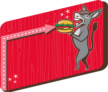 mule: Illustration of a donkey, ass, mule or horse mascot serving up a hamburger burger sandwich viewed fromt the side set inside rectangle shape with woodgrain done in 1950s retro diner style