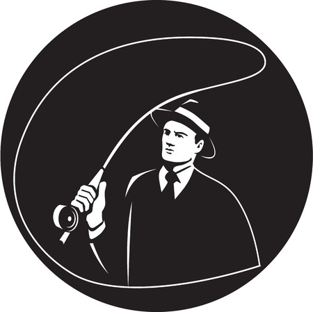 mobster: Illustration of a mobster gangster fly fisherman wearing suit, tie and hat fishing casting fly rod set inside circle on isolated background done in retro style. Stock Photo