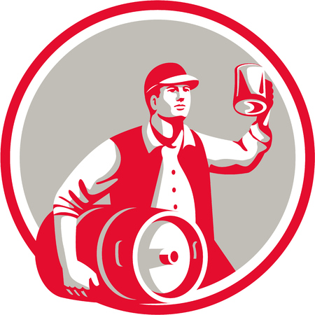 Illustratie van een Amerikaanse arbeider die hoed die vaatje aan de ene kant en het roosteren pul bier op de andere set binnen cirkel op witte achtergrond gedaan in retro stijl. Stockfoto - 56445370