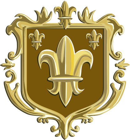Illustration of a fleur-de-lis,  fleur-de-lys or  flower of the lily depicting a stylized lily or lotus flower inside a crest shield coat of arms done in retro style.