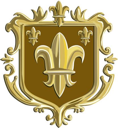 Illustration of a fleur-de-lis,  fleur-de-lys or  flower of the lily depicting a stylized lily or lotus flower inside a crest shield coat of arms done in retro style. Reklamní fotografie - 56445380