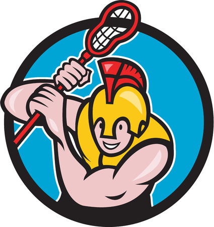 spartan: Illustration of a gladiator lacrosse player wearing spartan helmet holding lacrosse stick viewed from front set inside circle done in cartoon style.