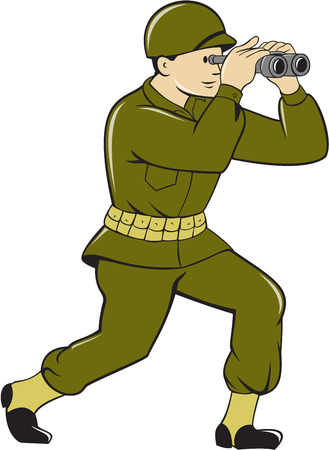 binoculars view: Illustration of a World War One American soldier serviceman looking through the binoculars viewed from the side set on isolated white background done in cartoon style. Stock Photo