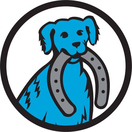 dog bite: Illustration of a blue merle dog biting horseshoe viewed from front set inside circle on isolated background done in retro style.