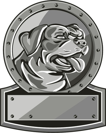 guard dog: Metallic style illustration of a Rottweiler Metzgerhund mastiff-dog guard dog head looking to the side set inside circle with screws done in retro style. Illustration