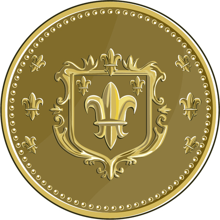 livery: Illustration of a fleur-de-lis,  fleur-de-lys or  flower of the lily depicting a stylized lily or lotus flower inside a crest shield coat of arms set on gold coin medallion medal done in retro style.