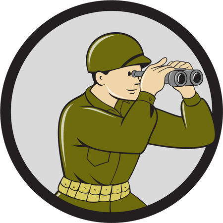 serviceman: Illustration of a World War One American soldier serviceman looking through the binoculars viewed from the side set inside circle done in cartoon style. Illustration