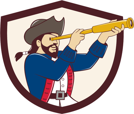 Illustration of a pirate looking into spyglass viewed from the side set inside shield crest done in cartoon style. Illustration