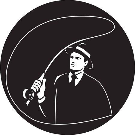 mob: Illustration of a mobster gangster fly fisherman wearing suit, tie and hat fishing casting fly rod set inside circle on isolated background done in retro style. Illustration