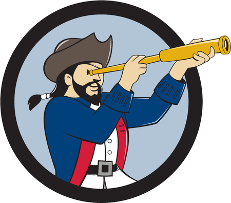 swashbuckler: Illustration of a pirate looking into spyglass viewed from the side inside circle done in cartoon style.