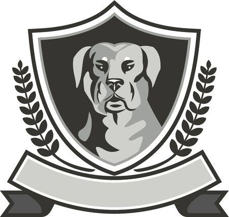 perro policia: Ejemplo blanco y negro de una cabeza de perro guardián mastín-perro Rottweiler Metzgerhund visto de frente fijó dentro cresta escudo con hojas de laurel y la cinta se hace en estilo retro. Foto de archivo