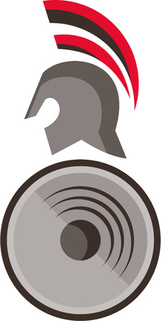spartan: Illustration of a spartan warrior helmet and shield viewed the side set on isolated white background done in retro style.