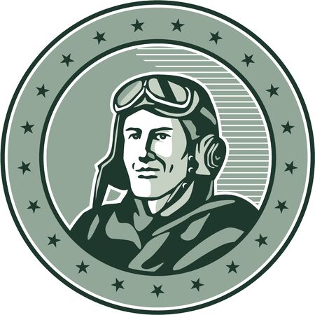 bust: Illustration of a vintage world war one pilot airman aviator bust smiling set inside circle with stars done in retro style. Stock Photo