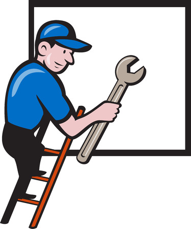 climbing ladder: Illustration of a repairman handyman worker wearing hat carrying spanner wrench climbing ladder with window in the background done in cartoon style.