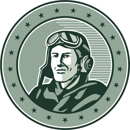 bust: Illustration of a vintage world war one pilot airman aviator bust smiling set inside circle with stars done in retro style. Illustration