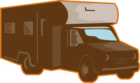 recreational: Illustration of a campervan motorhome rv caravan viewed from side on isolated background done in retro style.