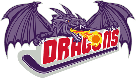 flames background: Illustration of a purple dragon head breathing fire on hockey stick and the word Dragons on isolated white background done in retro style.