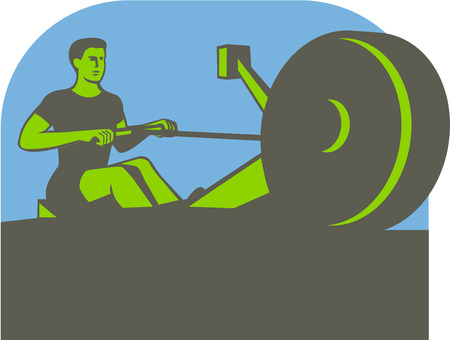 rower: Illustration of a rower exercising on a rowing machine viewed from front set inside half circle done in retro style.