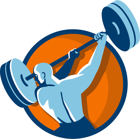weightlifter: Illustration of a weightlifter lifting swinging barbell looking to the side viewed from the back set inside circle on isolated background done in retro style. Illustration