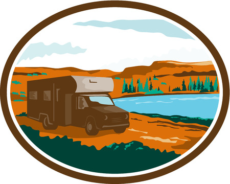barren: Illustration of a camper van motorhome rv traveling in desert or arid steppe with water basin lake in the background set inside oval done in retro style.
