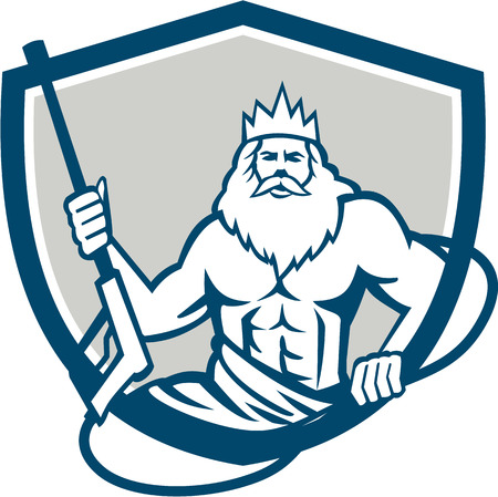 Illustration of a Neptune, roman god of sea holding pressure power washer water blaster viewed from front set inside shield crest on isolated background done in retro style.