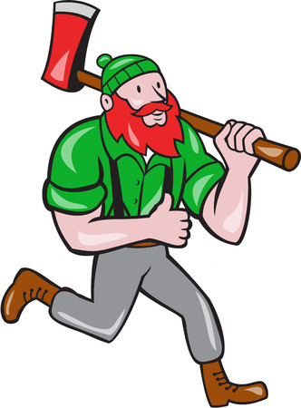 sawyer: Illustration of a Paul Bunyan an American lumberjack sawyer forest carrying axe on shoulder running thumbs up set on isolated white background done in cartoon style.