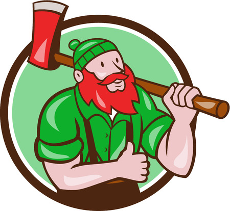 sawyer: Illustration of a Paul Bunyan an American lumberjack sawyer forest carrying axe on shoulder thumbs up set inside circle on isolated background done in cartoon style.