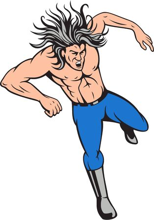 shirtless: Illustration of a man shirtless with big hair jumping viewed from front set on isolated white background done in cartoon style.