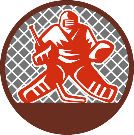 goalie: Illustration of a ice hockey goalie wearing helmet holding hockey stick set inside circle viewed from the front with net on the background done in retro style. Illustration
