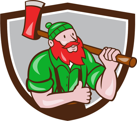 sawyer: Illustration of a Paul Bunyan an American lumberjack sawyer forest carrying axe on shoulder thumbs up set inside shield crest on isolated background done in cartoon style. Illustration