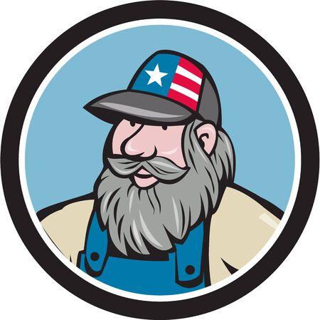 hillbilly: Illustration of a head of hillbilly man with beard wearing hat with stars and stripes looking to the side viewed from front set inside circle done in cartoon style.