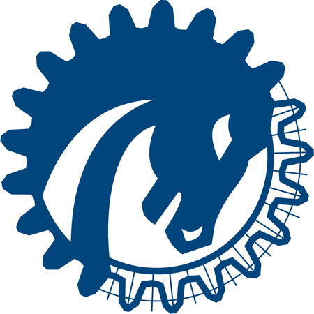 head shape: Illustration of a red war horse head side view set inside circle and gear teeth shape done in line drawing blue print on isolated white background.