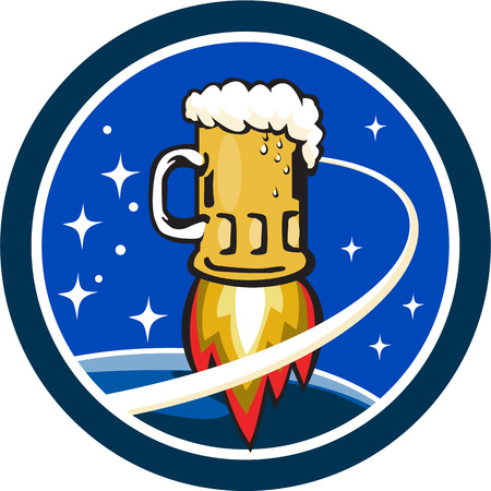 blasting: Illustration of a beer mug with rocket burners blasting off to space with stars and planet in the background set inside circle done in retro style. Illustration