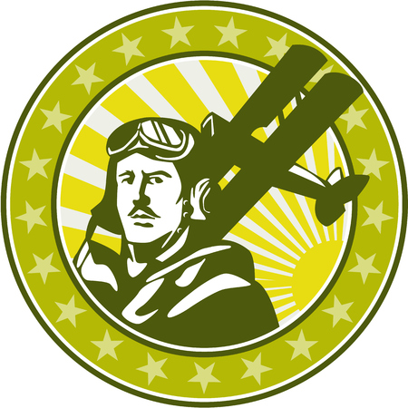 bust: Illustration of a vintage world war one pilot airman aviator bust with spad biplane fighter planes, sunburst and stars in background set inside circle done in retro style. Illustration